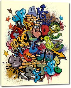 Элементы граффити со стрелами и буквами