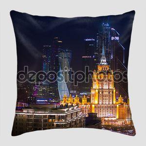 Строительство воздушных Ночная Панорама Москвы бизнес и Сталин небоскреба