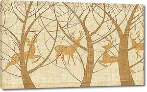 Тени деревьев и оленей