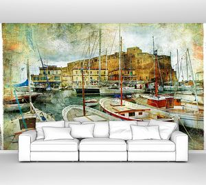 Рисунок с лодками на набережной