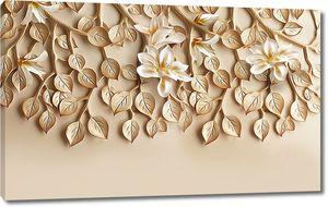 Цветы на лепной листве