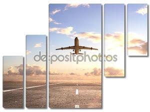 самолет на взлетно-посадочной полосы