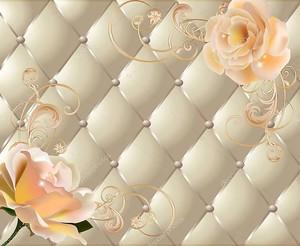 Светлый фон с цветами и ромбы