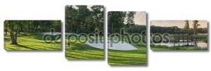 Панорамный вид на гольф, зеленый с белыми улавливатели песка