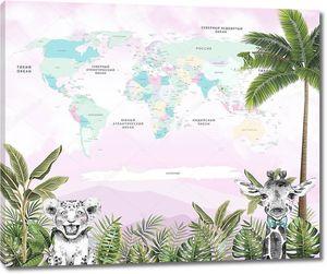 Карта мира для детей на фоне джунглей