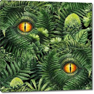 Watercolor dinosaur eye and prehistoric plants