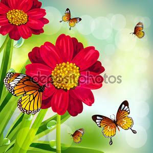 Красивый весенний фон с цветами и бабочками