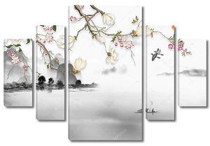 Туманный пейзаж с цветущей веткой