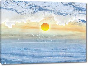 Солнце по центру голубого мрамора