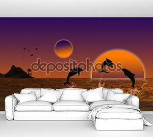 Красивый пейзаж на закате