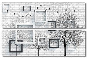 Рамки и дерево на кирпичной стене