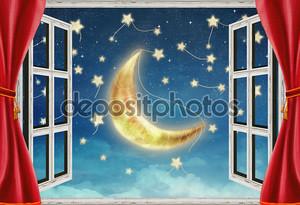 иллюстрация ночного представления из окна