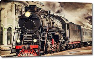 Ретро поезд на вокзале