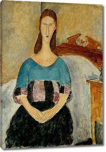 Амедео Модильяни. Портрет Жанны Эбютерн, сидящая