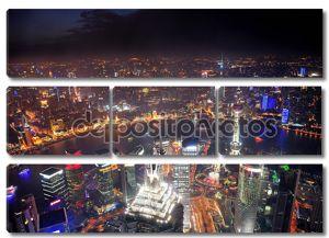 Шанхай ночью Аэрофотоснимок