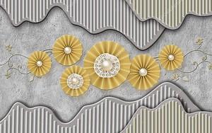 Золотые цветы на гранжевом фоне