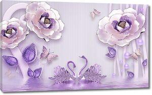 Сиреневые лебеди и цветы