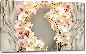 Ветки орхидей на атласной ткани