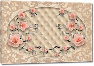 Узор и розы в овале