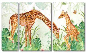 Мама и дочка жирафы