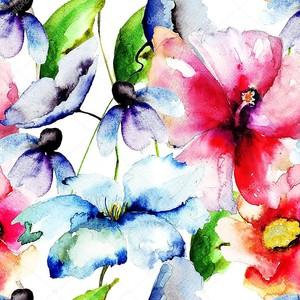 красивые цветы, живопись акварелью