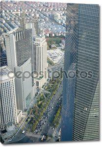 Вид с башни Цзинь Мао в Шанхае