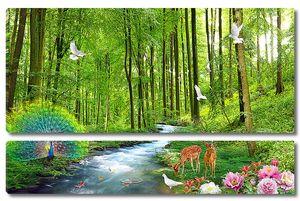 Павлин у лесного ручья