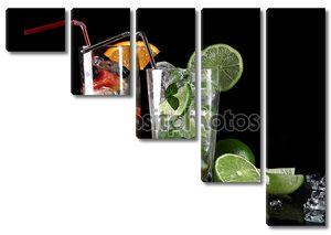 Мохито коктейль с свежей липы на черном фоне