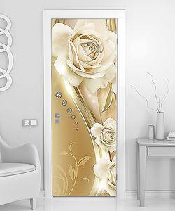 Белые бутоны роз со стразами