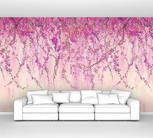 Ветви сакуры свисающие стеной