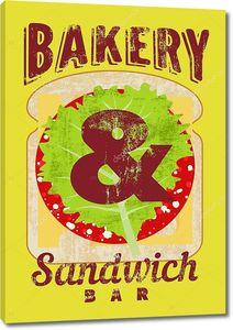 Типографский ретро гранж-постер для пекарен и сэндвич панели. Хлеб, сыр, колбаса и салат. Векторные иллюстрации.