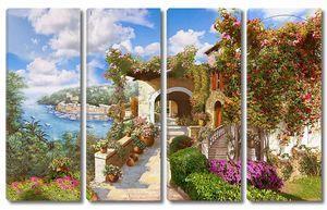 Яркая улица с домом утопающем в цветах