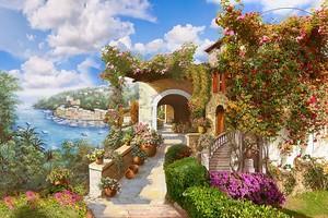 Яркая улица с домом утопающим в цветах