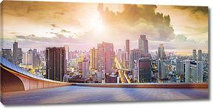 Вид на мегаполис с высоты