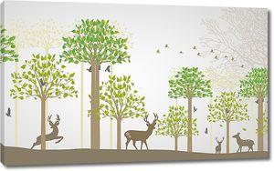Олени среди высоких деревьев