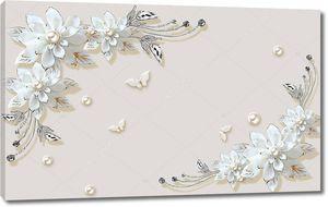 Белые декоративные цветы с тисненными бабочками