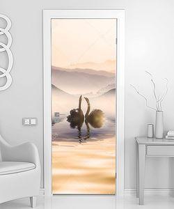 Лебеди в тумане на озере
