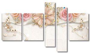 Розочки с брошью на ткани
