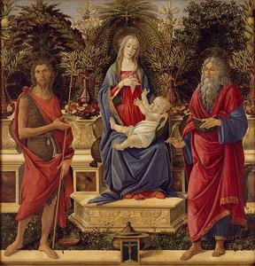 Боттичелли. Мадонна Барди, слева- Иоанн Крест., справа- Иоанн Богосл.