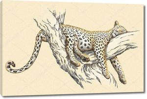 Рисунок леопарда на дереве