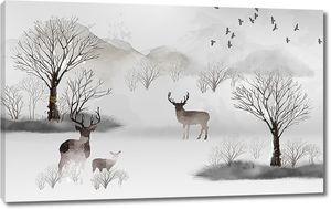Акварельный пейзаж с оленями