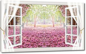Вид из окна на розовый сад