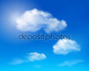 облака на голубое небо. Векторные иллюстрации.