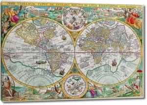 Разноцветная старая карта
