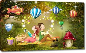 Романтический пикник в волшебном лесу