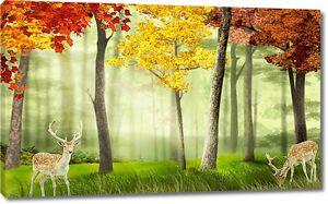 Пятнистые олени в осеннем лесу