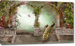 Павлины на ступенях в райском саду