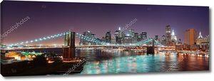 Манхэттен Нью-Йорк на фоне линии горизонта Бруклинский мост Панорама