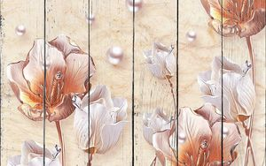 Жемчуг, большие яркие тюльпаны