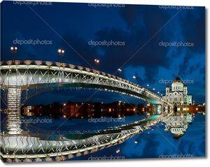 Собор Христа Спасителя в ночь, Москва, Россия